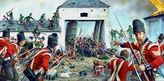 Defence of La Haye Sainte by the King's German Legion. Click on image to ENLARGE.
