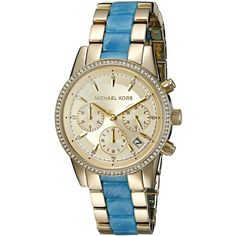 Michael Kors Women's Ritz Gold Watch MK6328 ($206) ❤ liked on Polyvore featuring jewelry, watches, analog wrist watch, gold watches, michael kors jewelry, pave jewelry and bezel jewelry