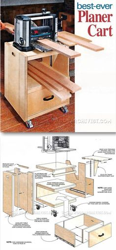 Planer Cart Plans - Planer Tips, Jigs and Fixtures   WoodArchivist.com