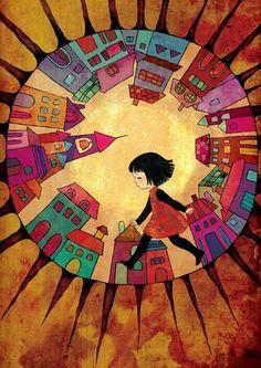 Ville sans soleil by moonywolf drawing for children, illustration for children, travel illustration, Art And Illustration, Illustration For Children, Arte Popular, Silk Painting, Whimsical Art, Art Plastique, Illustrators, Folk Art, Art Drawings