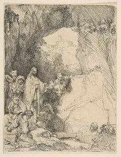 The Raising of Lazarus, small plate Rembrandt (Rembrandt van Rijn)  (Dutch, Leiden 1606–1669 Amsterdam) Date: 1642 Medium: Etching; first state of two Dimensions: sheet: 6 x 4 1/2 in. (15.2 x 11.5 cm) Classification: Prints Credit Line: Gift of Henry Walters, 1917 Accession Number: 17.37.74