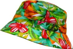 ca8b7013dc3 Amazon.com  KBM-006 BLK-BLU Floral Print Bucket Hat Hawaii Hat Cap  Clothing