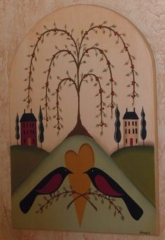 Primitive Folk Art Tree of Life Birds Heart Houses Hand Painted Wooden Plaque