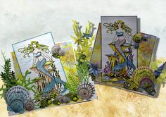 Mermaid card variations created for Chocolate Baroque with Mermaid Queen stamps. Anne Waller #chocolatebaroque #stamping #cardmaking