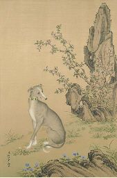 A CHINESE SCROLL PAINTING OF A GREYHOUND ON SILK,  20TH CENTURY,