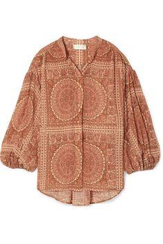 151b46da885 Primrose printed cotton and silk-blend plissé shirt Primroses