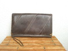 Genuine Leather Snake Skin Clutch Silver by BlastFromThePastBags, $119.00