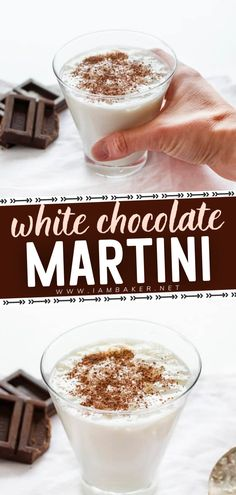 Don't be fooled by its sweet flavor, this White Chocolate Martini packs a punch! This creamy cocktail is more of a dessert than anything. Topped with dark chocolate shavings, it's the best drink to welcome the New Year! Pin this New Year party drink. White Chocolate Martini Recipe, White Chocolate Liqueur, Chocolate Drizzle, Chocolate Shavings, Chocolate Syrup, Easy Holiday Recipes, Easy Cake Recipes, I Am Baker, Martini Recipes