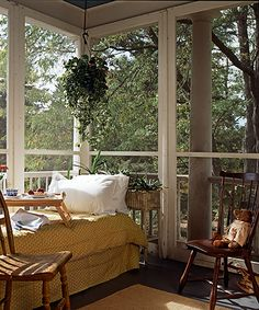 Sweet Sleeping-porch - I LOVE sleeping on our porch in the summer! say yes to an enclosed porch! heck ya!