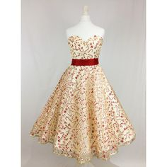 Gold Christmas 50'S Dress With Glitter Candy Canes Sweetheart Neckline... ($232) ❤ liked on Polyvore featuring dresses, silver, women's clothing, gold skater skirt, long skater skirt, vintage long dresses, gold cocktail dress and circle skirt