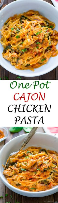 One Pot Cajon Chicken Pasta Bold and spicy cajon Chicken and Spaghetti pasta with spinach, herbs, and creamy sauce all prepared in one pot!