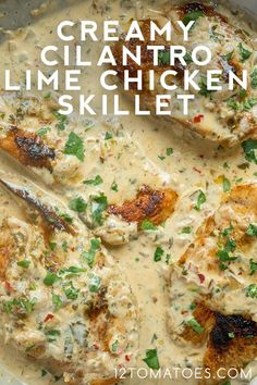 Creamy Cilantro Lime Chicken Skillet - Creamy, delicious chicken done in less than 30 minutes! Lime Chicken Recipes, Cilantro Lime Chicken, Meat Recipes, Mexican Food Recipes, Cooking Recipes, Healthy Recipes, Recipes With Cilantro, Cilantro Ideas, Best Chicken Dishes