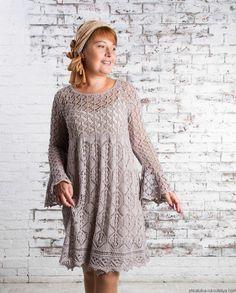 Ажурное платье спицами по шетландским мотивам. Платье шетландское кружево | Шкатулка рукоделия