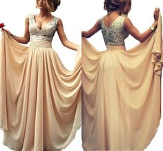 Babyonlinedress Long Chiffon Sequined Prom Evening Dresses Cocktail Party Gown