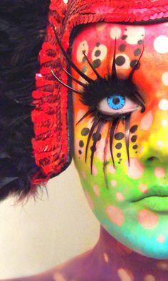Rainbow make-up, face paint, lashes, full face, dramatic The Face, Face And Body, Art Beauté, Rainbow Face, Rainbow Makeup, Rainbow River, Fantasy Make Up, Dark Fantasy, Fantasy Art
