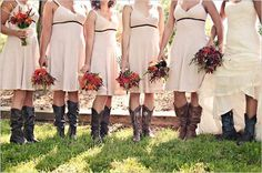 Country Themed Wedding Bridesmaid Dresses in Custom Styles.  I love the idea of cowboy boots!