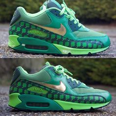 88affc7d86 Before and after of these Nike air max 90 'St patrick's day' midsole re