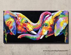 elephant painting wall decor 60 cmH x 120 cmW