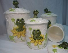 Neil the Frog COMPLETE 8 Piece Kitchen Ceramic Canister Set by Sears Roebuck & Company - 1978. $35.00, via Etsy.