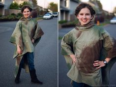 Princess Leia costume: Sheet from the goodwill painted camo. Very cool. Pinned from: Star Wars Day - May the 4th Be With You