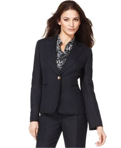 Tahari by ASL Jacket, Single Button Notched Collar Blazer - Womens Suits &  Suit Separates