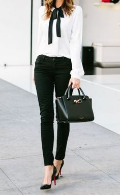 white blouse with blac jeans classic combo