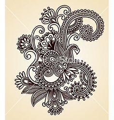 Original hand draw line art ornate flower design vector. Lotus henna design by kara-kotsya on VectorStock®