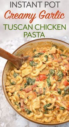 Instant Pot Creamy Garlic Tuscan Chicken Pasta is a one pot wonder! A rich and fabulous blend of flavors in a creamy sauce. Tender chicken makes this a complete meal made in your electric pressure cooker! simplyhappyfoodie.com #instantpotrecipes #instantpotpasta #instantpotchickenpasta #instantpottuscanchicken #instantpotmacandcheese