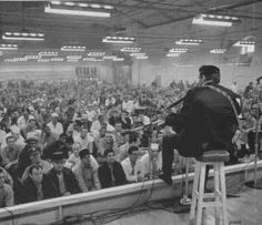"Johnny Cash performing at Folsom Prison, 1968. This is where Cash is reputed to have coined the famous line ""Hello, I'm Johnny Cash."""