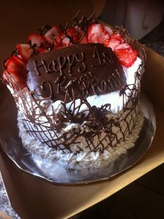 Black Forest Cake topped with strawberries...yum!!!
