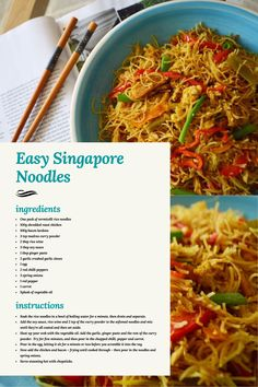 Yes, they're the colour of nuclear waste and yes they've been known to leave my mouth numb, but I love Singapore Noodles and they can be whipped up using a lot leftovers from your fridge. Spicy Singapore Noodles Recipe, Singapore Noodles Chicken, Asian Recipes, Asian Foods, Chinese Recipes, Filipino Recipes, Chinese Food, Ethnic Recipes, Chicken Gyro Recipe