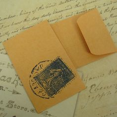 Sample Soap Packaging Ideas...5 Vintage Postage Stamp Tiny Envelopes Business by EdSmithDesigns, $1.19