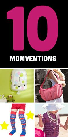 Great parenting inventions created by moms like a zippered swimsuit with full sun protection, a diaper bag that doubles as a nursing pillow and an a bottle that uses syringe technology to make it totally air-free. Plus special offers and a giveaway of all ten products!