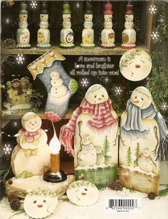 free - learn to paint these snowmen crafts Christmas Winter home decor project craft painting Christmas Books, Country Christmas, Christmas Crafts, Christmas Ornaments, Country Wood Crafts, Primitive Crafts, Pintura Country, Tole Painting Patterns, Magazine Crafts