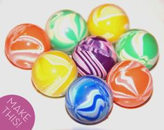 Make bouncy balls using borax, cornstarch, white glue (for opaque ball) or blue or clear school glue (for translucent ball) and optional food colouring.
