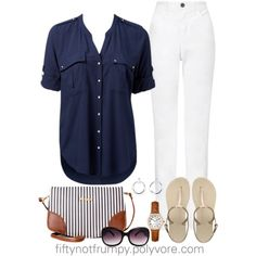 Casual Class by fiftynotfrumpy on Polyvore featuring Forever New, John Lewis, Havaianas, Pull&Bear, Timex, Brooks Brothers, MANGO, blue shirt, watches and white pants