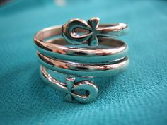 Gorgeous Egyptian Sterling Silver Ring, Ankh ring, Egyptian Ankh, Egyptian ring