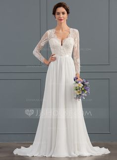 [US$ 176.69] A-Line/Princess V-neck Sweep Train Chiffon Wedding Dress With Beading Sequins