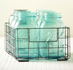 Mason Jar Basket and mason jars to hold silverware
