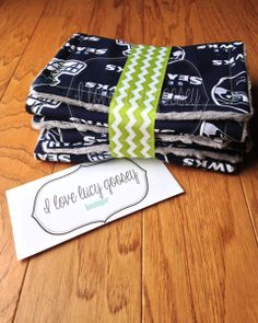 Set of 3 Seahawks burp cloths baby football by ILoveLucyGoosey, $15.00