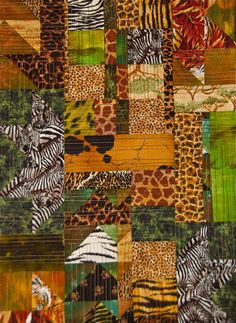 It's a Jungle Out There by Robyn. African Quilts, African Textiles, African Fabric, African Patterns, Baby Boy Quilts, Africa Art, Animal Quilts, Quilted Wall Hangings, African Animals