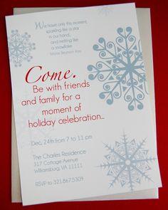Snowflake Holiday Christmas Party Invitation - DIY Printable. $12.50, via Etsy.