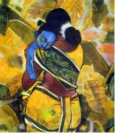 Painting ideas on canvas acrylic sad 18 ideas for 2019 Famous Artists Paintings, Indian Art Paintings, Krishna Painting, Krishna Art, Artist Painting, Painting & Drawing, Composition Painting, Baby Krishna, Indian Folk Art