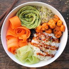 Vegan Sushi Bowls with Hot 'N Spicy Popcorn Mushroom
