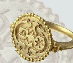 An Alemannic gold ring with religious symbols. mid 7th century A.D.
