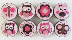 Pink and Brown Owl Knobs, Pink Owl Knobs, Cute Owls Drawer Knobs -  Wood Knobs- 1 1/2 Inches - Set of 8