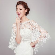 2015 Elegant Ivory Wedding Lace Jackets Wraps Wedding Cape Wedding ...