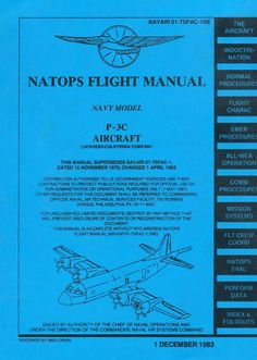 LOCKHEED P-3C ORION MLD / NAVAIR 01-75PAC-1NE NATOPS