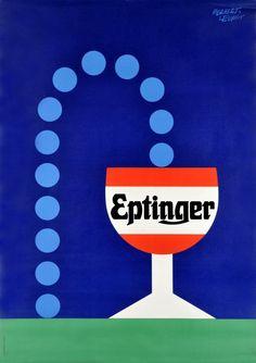 1960 Eptinger Swiss sparkling water, vintage advert poster