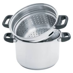 The Steam Control 8qt Pasta Stock Pot Set by Precise Heat has durable surgical stainless steel with a 9-element encapsulated base for even distribution of heat. This wonderful multi-cooker stockpot comes with a deep fryer basket, a deep pasta colander for spaghetti and a steamer basket for seafood or vegetables. The steam control valve will whistle when the water boils. Just place the pasta inside, turn off the heat and close the steam control valve. Steam Seafood, Stainless Steel Cleaner, Multicooker, Pot Sets, Cookware Set, Healthy Dishes, Steamer, Cooking Time